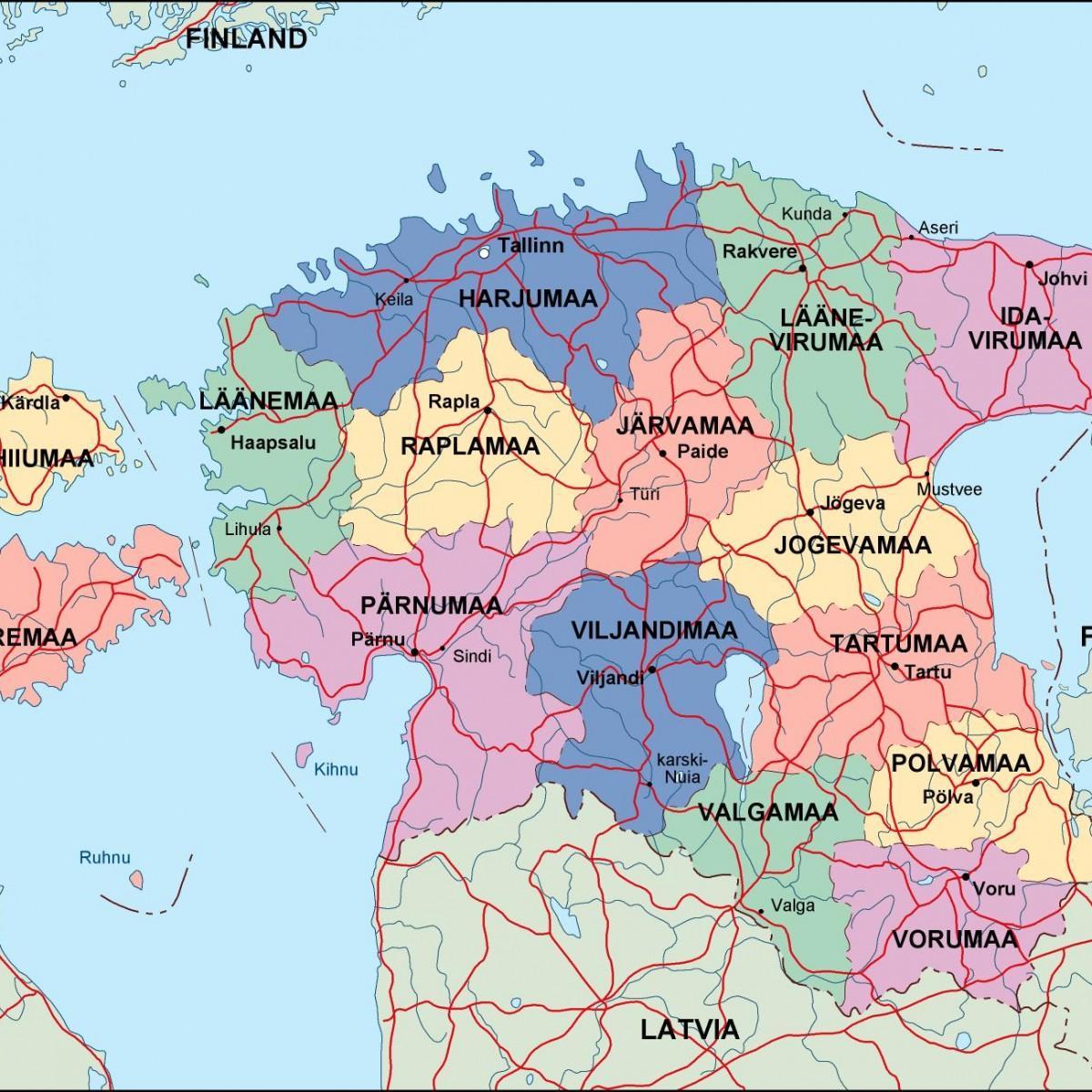 estland kart Estland, politisk kart   Kart over Estland politisk (Northern  estland kart